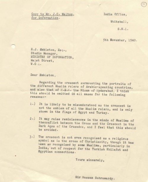 letter from Sir Hassan Suhrawardy to E J Embleton