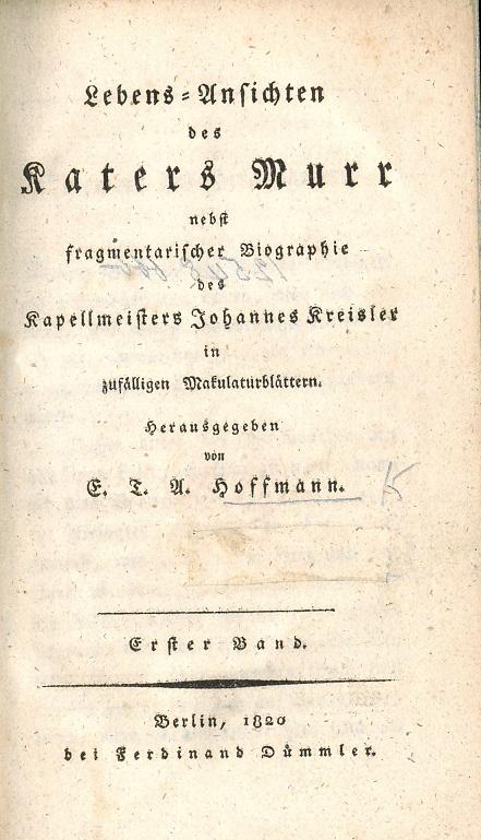 Titlepage of Lebens-Ansichten des Katers Murr, 1820