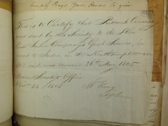 Certificate that Patrick Connelly was drowned 26 May 1805