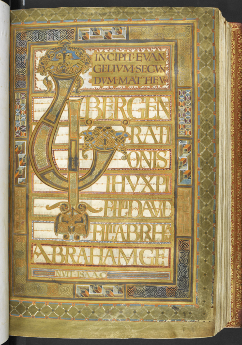 A highly decorated page from the Harley Golden Gospels, showing the beginning of the Gospel of St Matthew.