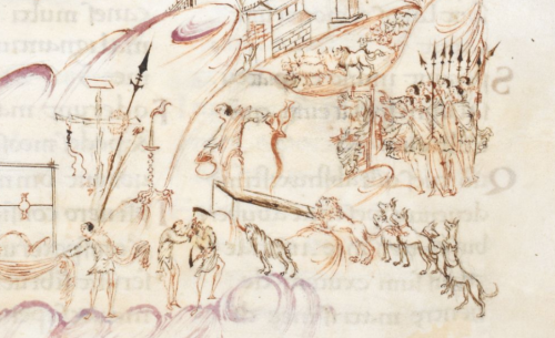 A detail from the Harley Psalter, showing an illustration of Psalm 21, Verse 22: 'Save me from the mouth of the lion'.