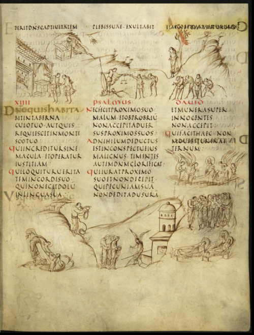 A page from the Utrecht Psalter, showing the text of Psalm 14, with accompanying illustrations of different Psalm verses.