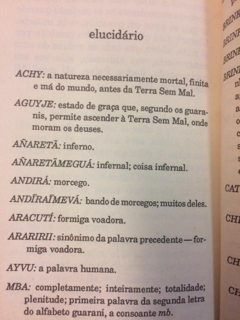 Guarani glossary from Mar Paraguayo