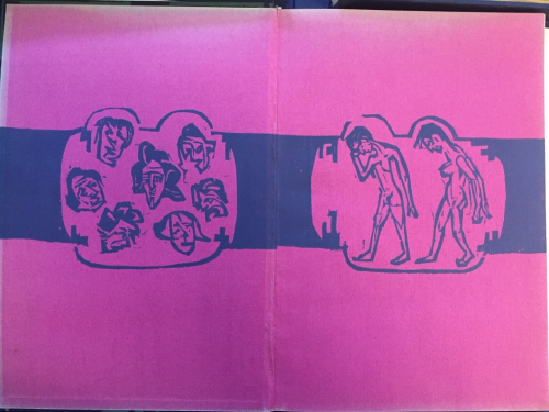 Front endpapers of 'Umbra Vitae' showing six heads in a circle and two bent walking figures in blue against a pink background