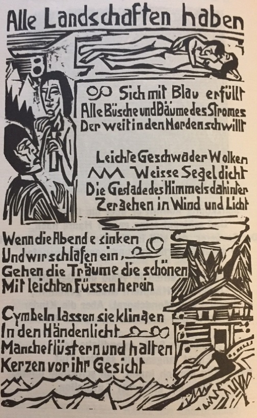 The woodcut page with the poem 'Träumerei in Hellblau', illustrated by an embracing couple and figures and a house in a mountain landscape