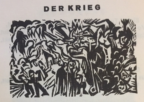 Illustration for 'Der Krieg' showing a demonic face bursting from a landscape