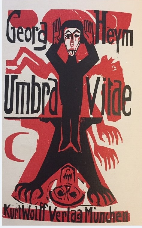 Title page of 'Umbra Vitae' with a woodcut of a black-clad man overshadowed by a monstrous red figure