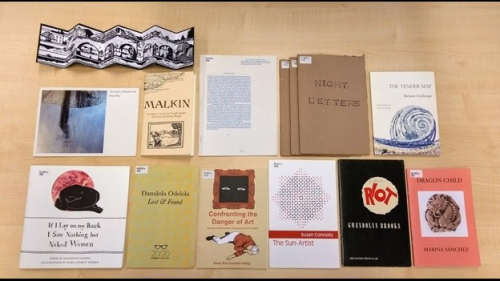 Photograph showing a selection of poetry pamphlets from the British Library's collectons
