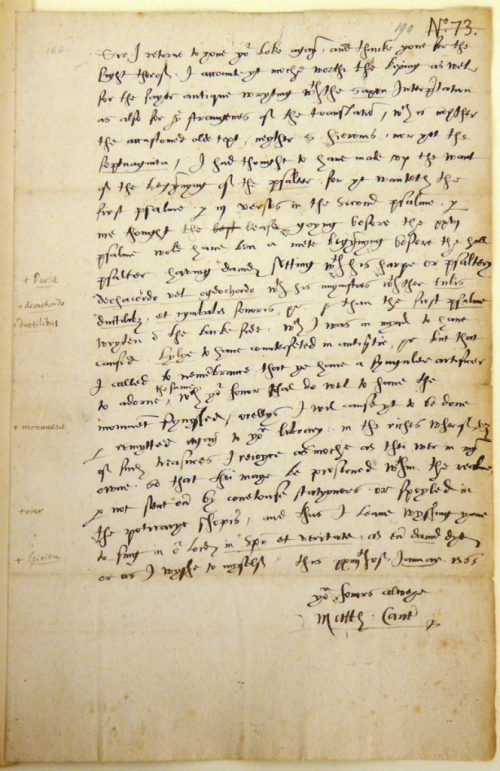 Detail of a letter written by Matthew Parker to William Cecil