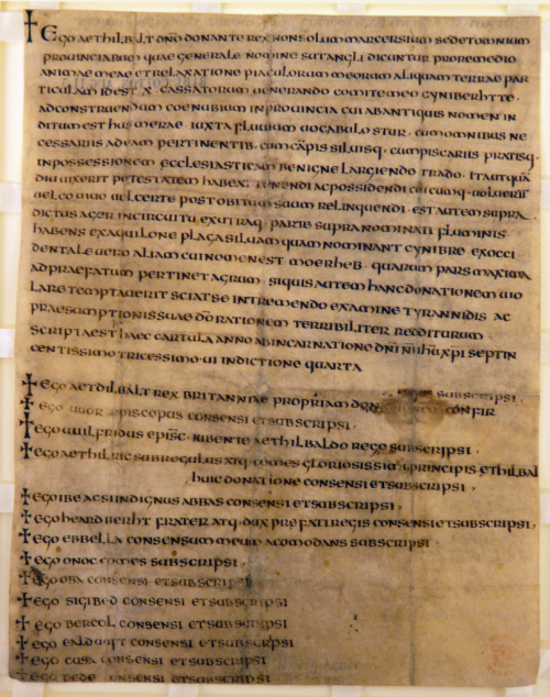 Charter of King Æthelbald of Mercia