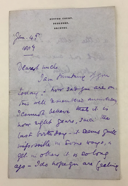 Manuscript Letter from Constance Strachey née Braham to Chichester Parkinson-Fortescue,