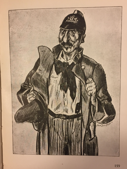 Caricature of Troelstra dressed as a revolutionary and carrying knives inscribed with the word 'revolution'