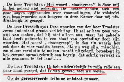 Extract from proceedings of the Dutch parliament with Troelstra's denial of having planned a coup or advocated violence