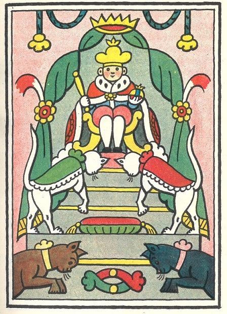 Illustration depicting Jenda as king of the Kingdom of Cats