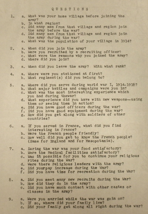 Questionnaire for World War One soldiers