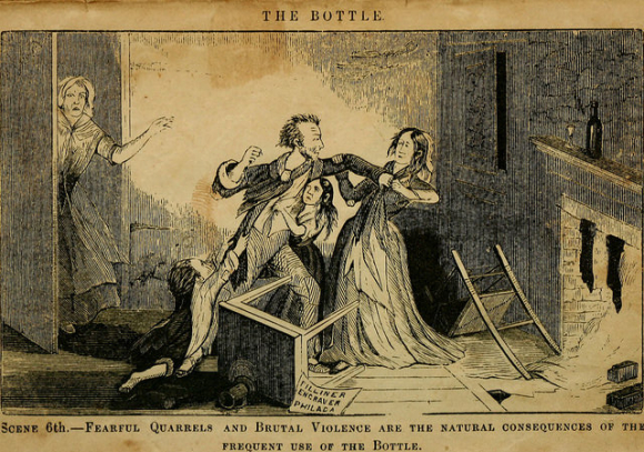 Picture entitled 'The Bottle' showing a drunken man attacking his wife