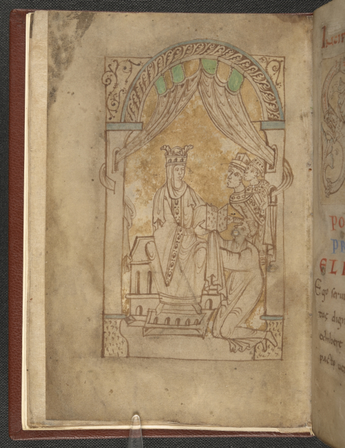 Miniature of Emma being presented with the book in the Encomium Emmae reginae
