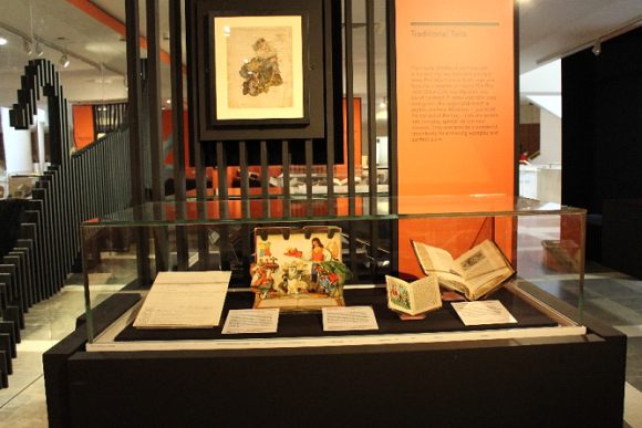 Image of one of the completed display cases for the Cats exhibition