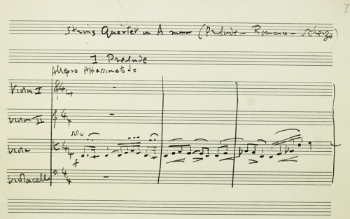 The opening of the first movement of Ralph Vaughan Williams' String Quartet No.2
