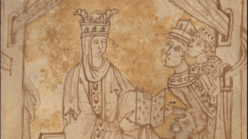 Emma of Normandy as depicted in the work entitled 'In Praise of Queen Emma'