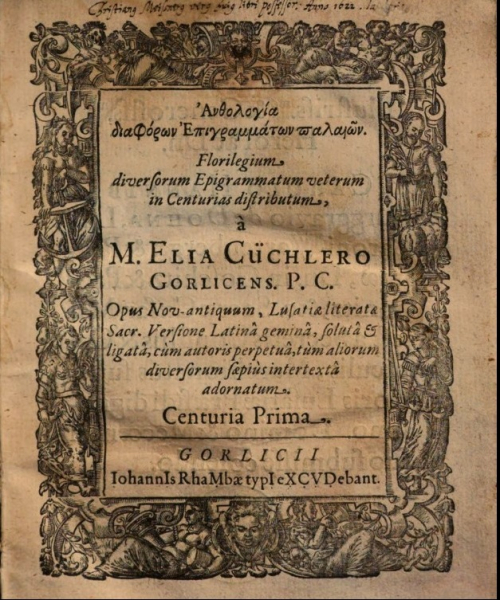 Title page in Latin with a chronogram for the year 1618