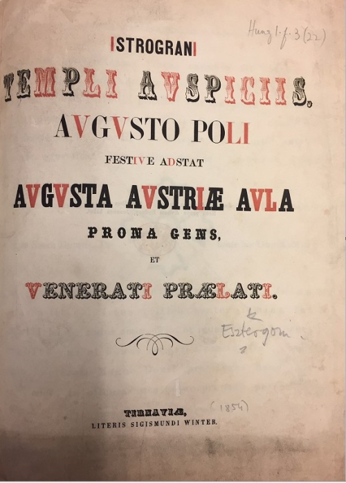 Link to a Latin title page with a chronongram on the year 1856 highlighted in red type