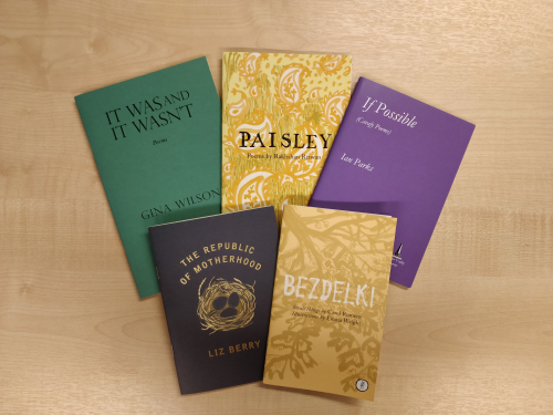 Photograph of collected pamphlets shortlisted for the Michael Marks poetry prize