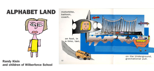 Photographic excerpt from Alphabet Land showing drawings of a girl, a submarine and a truck