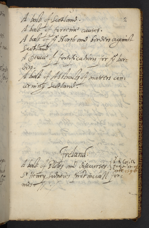 A page from Walsingham's book with a note recording the borrowing of a volume by Robert Cecil