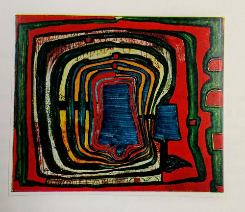 Coloured abstract design by Hundertwasser from '35 Tage Schweden'