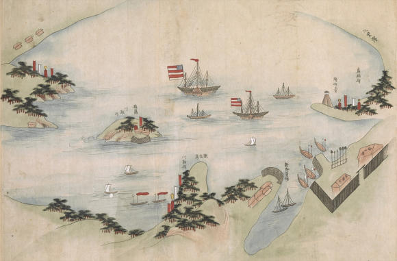 The Black Ships at anchor off Kurihama. Detail from British Library manuscript Or.16453