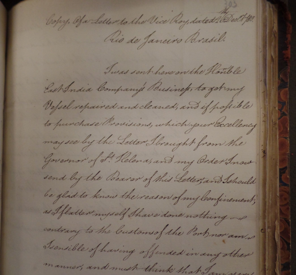 Page from letter from Captain Bendy to the Viceroy of Portugal, Rio de Janeiro, 26 Dec 1780