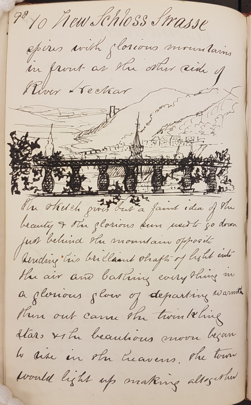 Sketch showing a view across the River Neckar from Heidelberg Castle