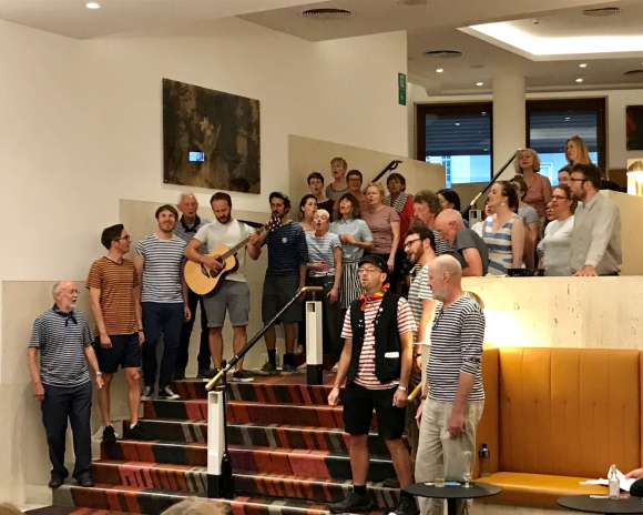 The London Sea Shanty Collective singing at the British Library, Summer 2018.