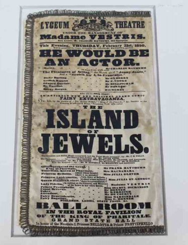 the theatrical playbill which advertises the show The Island of Jewels at the Lyceum Theatre.