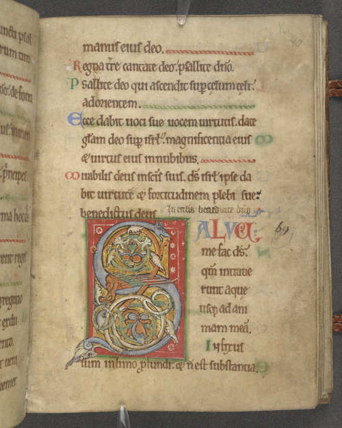 A text page from a Psalter with a decorated letter S in the shape of a winged beast