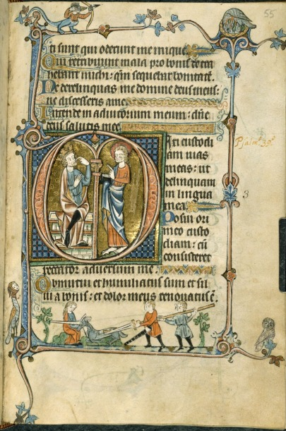 A text page from a Psalter manuscript with a decorated initial D containing King David pointing to his mouth before Christ. Marginal scenes decorate the margins, including the slaying of a unicorn in the lower margin.