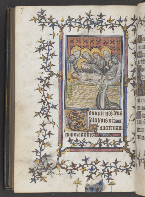 A page from the Southwark Hours, showing a miniature of the Entombment of Christ with a portrait of a kneeling woman. Ivy leaf borders decorate the margins.