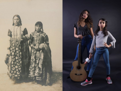 Two images, each showing two young women, one from 1907, one 2018