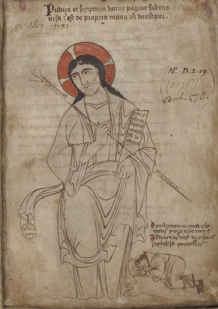 A drawing of Christ, with St Dunstan kneeling at his feet, from Dunstan's Classbook