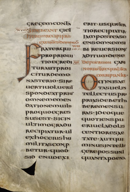 A text page from the earliest copy of the Rule of St Benedict