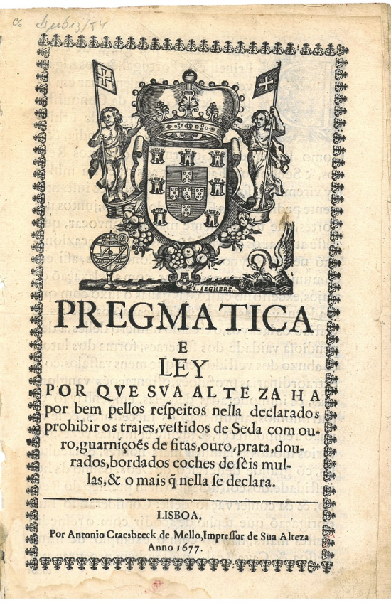 Cover of Pregmatica e ley por que Sua Alteza... featuring a coat of arms