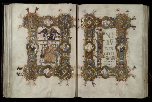 A Gospel opening from the Trinity Gospels, with an evangelist portrait on the left and decorated text on the right