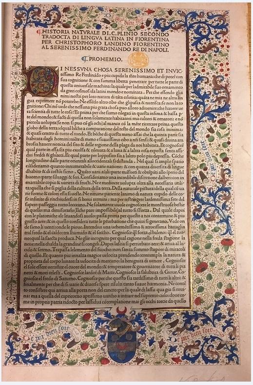 Translator's dedication (f.2) from Historia naturale di C. Plinio Secondo tradocta di lingua Latina in Fiorentina per Christophoro Landino