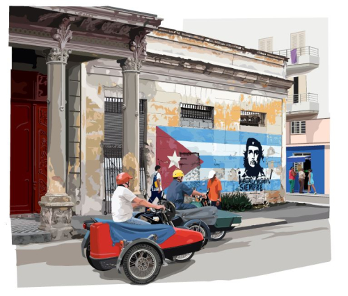 Illustration from Havana showing man riding a motorcyle with Che Guevara graphic on wall