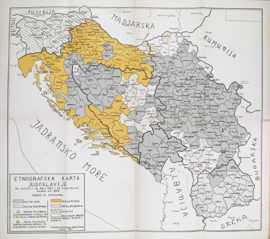Ethnographic map of Yugoslavia according to the 1921 and 1931 censuses and 1946 administrative division