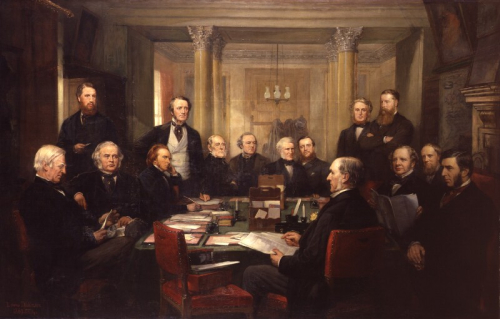 Oil painting of Gladstone's cabinet sitting around a table