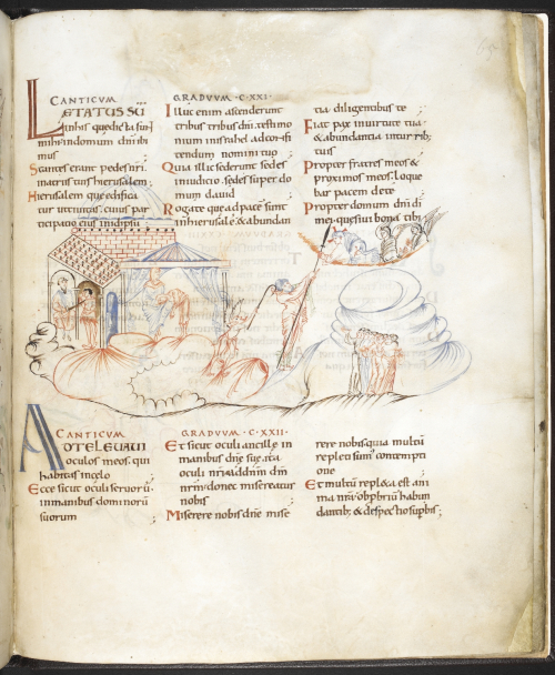 A drawing illustrating Psalm 122, showing a female slave and her mistress (centre) and a master holding up a sword to two male slaves (left), in the Harley Psalter