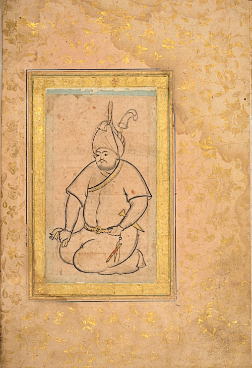 A rare sketch from inside the Muntakhab-i i Dīvān-i Navā'ī showing a Central Asian man in traditional dress. Herat, 15th-16th century