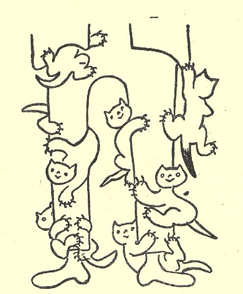 Illustration by Josef Čapek of kittens climbing a person's legs